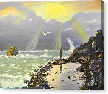 Canvas Print featuring the painting Rock Fishing At Wombarra  by Pamela  Meredith
