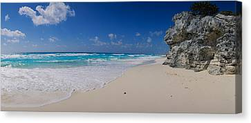 Rock Formation On The Coast, Cancun Canvas Print by Panoramic Images