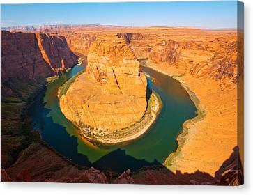 Rock Formations At Goosenecks State Canvas Print by Panoramic Images