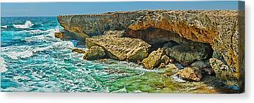 Rock Formations At The Coast, Aruba Canvas Print by Panoramic Images