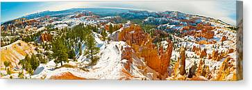 Rock Formations In A Canyon, Bryce Canvas Print by Panoramic Images