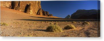 Rock Formations In A Desert, Wadi Um Canvas Print by Panoramic Images