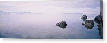 Rock Formations In A Lake, Great Salt Canvas Print by Panoramic Images