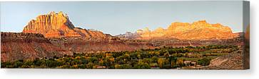 Rock Formations On A Landscape, Zion Canvas Print by Panoramic Images