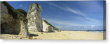 Rock Formations On The Beach, White Canvas Print by Panoramic Images