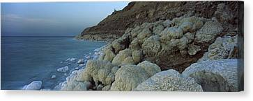 Rock Formations On The Coast, Arabah Canvas Print by Panoramic Images