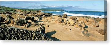 Rock Formations On The Coast, Molokai Canvas Print by Panoramic Images