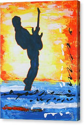 Rock Guitar Abstract Painting Canvas Print by Bob Baker