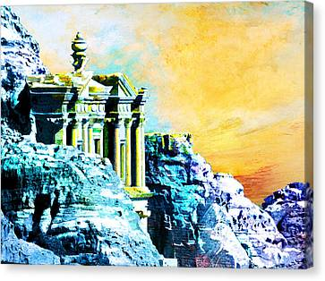 Rock Hewn Monastery Ad-deir Canvas Print by Catf