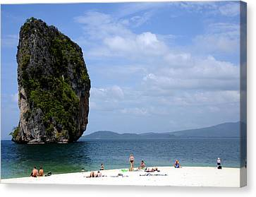 Rock In Water Canvas Print by Money Sharma