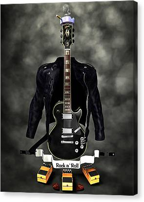 Rock N Roll Crest-the Guitarist Canvas Print by Frederico Borges