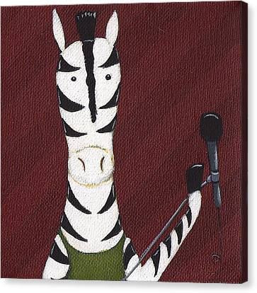 Rock 'n Roll Zebra Canvas Print by Christy Beckwith