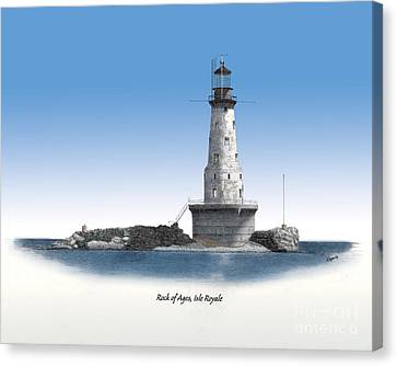 Rock Of Ages Lighthouse Titled Canvas Print by Darren Kopecky