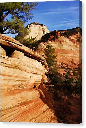 Rock Of Sandstone Sky Of Blue At Zion National Park Canvas Print by Elaine Plesser