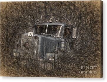 Old Trucks Canvas Print - Rock On Road Warrior by Lois Bryan
