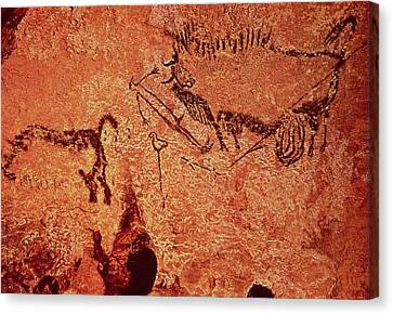 Rock Painting Of A Hunting Scene, C.17000 Bc Cave Painting Canvas Print by Prehistoric