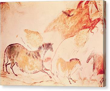 Archaeology Canvas Print - Rock Painting Of Horses by Prehistoric