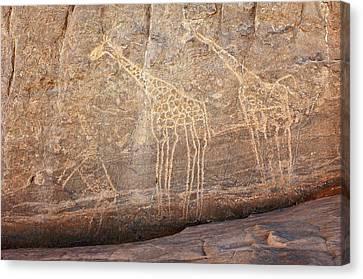 Rock Paintings, Algerian Sahara Canvas Print by Science Photo Library
