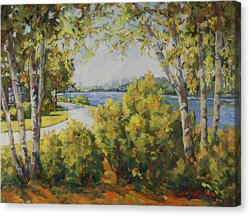 Rock River Bike Path Canvas Print by Alexandra Maria Ethlyn Cheshire