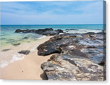 Rock Sand Sea And Sky Canvas Print