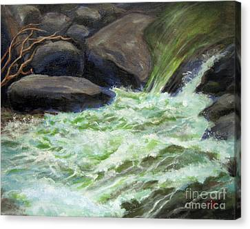 Canvas Print featuring the painting Rock Splash by Carol Hart