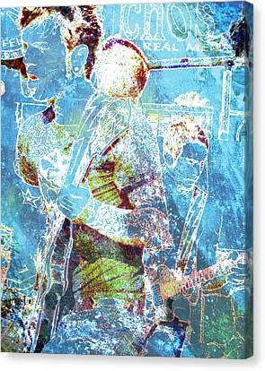 Canvas Print featuring the digital art Rock Star Guitarist by John Fish