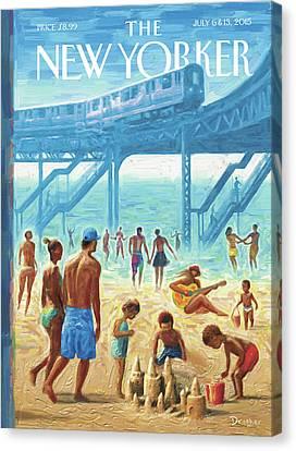 Subway Canvas Print - Rockaway Beach by Eric Drooker
