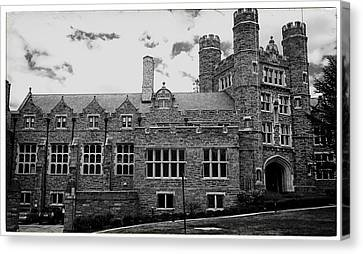 Rockefeller Hall - Bryn Mawr In Black And White Canvas Print by Georgia Fowler
