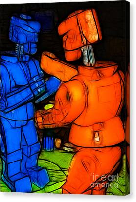 Rockem Sockem Robots - Color Sketch Style - Version 3 Canvas Print by Wingsdomain Art and Photography