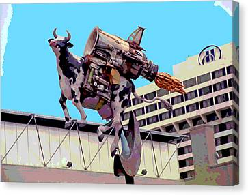 Rocket Cow Sculpture By Michael Bingham Canvas Print by Steve Ohlsen