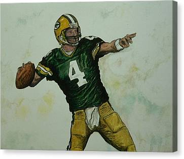 Canvas Print featuring the painting Rocket Favre by Dan Wagner