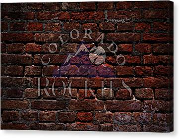 Rockies Baseball Graffiti On Brick  Canvas Print by Movie Poster Prints