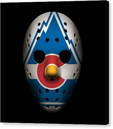 Hockey Canvas Print - Rockies Goalie Mask by Joe Hamilton