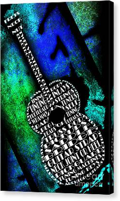 Rockin Guitar In Blue And Green Canvas Print by Andee Design