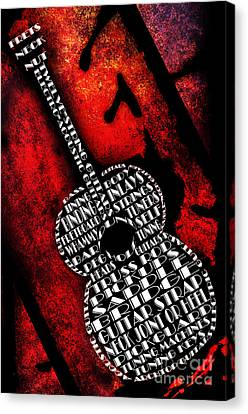 Rockin Guitar In Red Typography Canvas Print by Andee Design