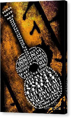 Rockin Guitar In Yellow Canvas Print