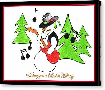 Rockin' Holiday Snowman Canvas Print by Chris Fraser