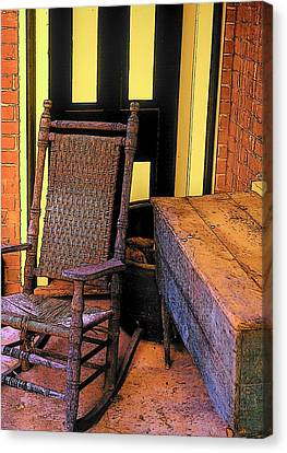 Rocking Chair And Woodbox Canvas Print by Rodney Lee Williams