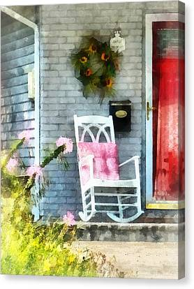 Rocking Chair With Pink Pillow Canvas Print by Susan Savad