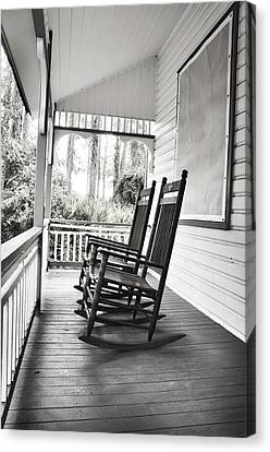 Rocking Chairs On Porch Canvas Print