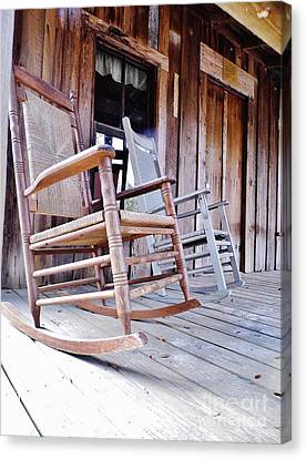 Rocking On The Front Porch Canvas Print by D Hackett