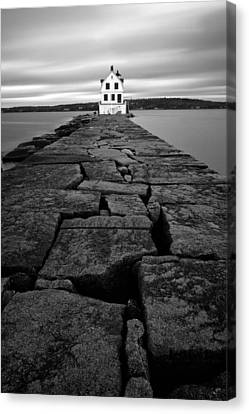 Rockland Breakwater Light Canvas Print by Patrick Downey