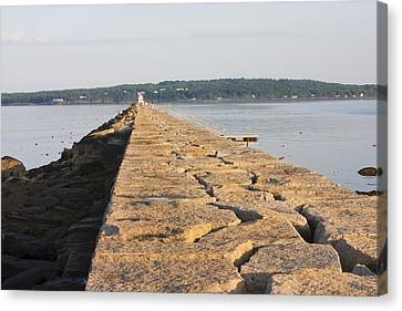 New England Lighthouse Canvas Print - Rockland Breakwater Lighthouse Coast Of Maine by Keith Webber Jr