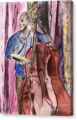 Avant Garde Jazz Canvas Print - Dancn' Double Bass  by Elizabeth Briggs