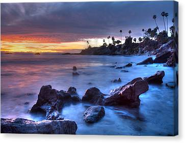 Rockpile Beach Moodscape Canvas Print