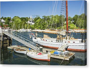 Rockport Harbor And Boats On The Coast Of Maine Canvas Print by Keith Webber Jr