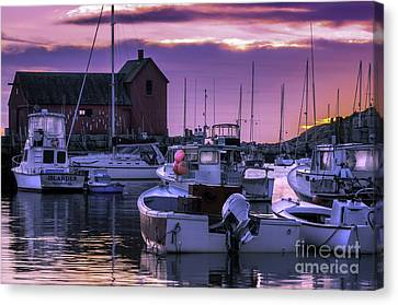 Rockport Harbor At Sunrise - Open Edition Canvas Print by Thomas Schoeller