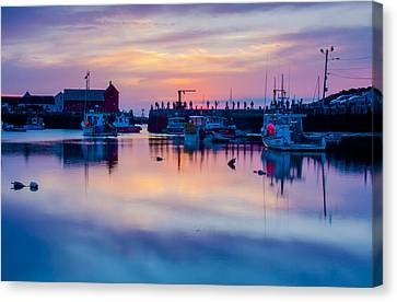 Canvas Print featuring the photograph Rockport Harbor Sunrise Over Motif #1 by Jeff Folger
