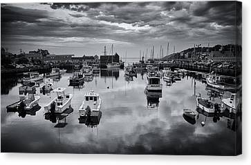 Fishing Shack Canvas Print - Rockport Harbor View - Bw by Stephen Stookey