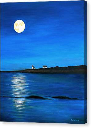 Rockport Harvest Moon Canvas Print by Eileen Patten Oliver
